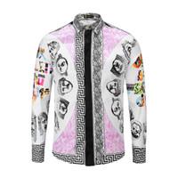 Wholesale harajuku dresses - Brand New 3D floral print Colour Mixture men shirts fashion luxury leisure shirts long sleeve men medusa Dress shirt harajuku Casual shirts