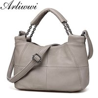 натуральная кожа оптовых-Arliwwi  Soft Genuine Leather Women Elegant Tote Handbags Fashion New Real Cowhide Lady's Patched Designer Chain Bags