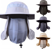 pesca de golf al por mayor-Gorra de sol Sombrero de pesca Unisex Sombrero de sol Ala ancha Protección solar con solapa de cuello desmontable Cubierta de 360 ° para ciclismo G802R para actividades al aire libre