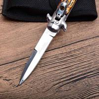 """Wholesale Ebony Wood Knife - 2018 FOX Italy AKC Bill DeShivs 7.5"""" Leverletto Ebony Bionic bone Wood Automatic Best Knife 440C Blade Survival Gear Knife knives"""