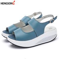 Wholesale peep toe wedge platform - 5 Styles Summer Women Sandals Platform Wedges Sandals Leather Swing Peep Toe Casual Shoes Women Walk Shoes Flats Size 35-43
