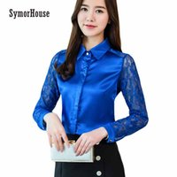 Wholesale white silk blouse xs - SymorHouse Fashion Women's Shirts Tops 2018 Spring Long Sleeve Women Blouse Sexy Lace Office Shirt Imitated Silk Chiffon Blouse