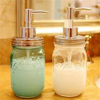 dispensador para baño al por mayor-Dispensador de jabón líquido tapa de la bomba de acero inoxidable Mason Countertop Soap Dispensador de loción para baño NUEVO NNA293