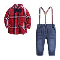 ingrosso cravatta casuale della camicia dei capretti-New Spring Autunno Neonato Neonati Set Bambini Bow Tie Plaid Shirt + Jeans pantaloni della bretella Boy 2pcs Set Abbigliamento Suit Bambini Outfits W301