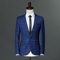 hombres de traje azul real oscuro al por mayor-Hombres chaqueta del juego del Real azul oscuro tela escocesa de Brown Blazer inteligente ocasionales adelgaza Blazer 2017 Botón Marca del solo macho M-3XL