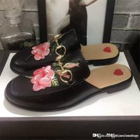 Wholesale Flowers Logos - Italy Fashion Brand Luxury Brands G Logo Black Princetown Leather Slippers Flower Come With Box