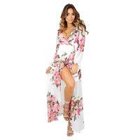 robe maxi mousseline florale bohème achat en gros de-Femmes Mode Floral Print en mousseline de soie longue robe col V Split Beach Casual été printemps Cardigan Dress Sexy Bohemian Maxi robes