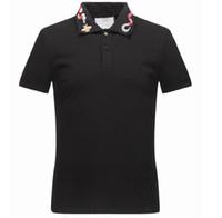 bordado de impressão de camisa venda por atacado-Primavera de Luxo Itália Tee T-Shirt Designer Camisas Polo High Street Bordados Garter Cobras Pouco Abelha Impressão Roupas Mens Marca Pólo Camisa