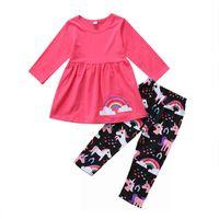 Wholesale kawaii pants - kawaii Baby girl clothes outfit unicorn rainbow pink T-shirt top + pant 2 pieces a set lovely girls kid clothing sets