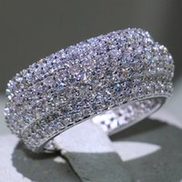 plata de ley única al por mayor-Impresionante joyería de lujo Victoria recién llegada Unique Desgin 925 Sterling Silver Pave White Sapphire CZ Diamond piedras preciosas anillo del círculo de las mujeres