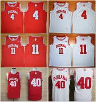 basquete indiana venda por atacado-Basquete universitário camisa 11 Isiah Thomas Jerseys Indiana Hoosiers 4 Victor Oladipo 40 Cody Zeller uniforme Rev 30 novo material vermelho branco