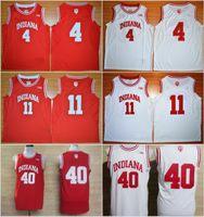 camisa roja del baloncesto al por mayor-Camiseta de baloncesto de la universidad 11 Isiah Thomas Jerseys Indiana Hoosiers 4 Victor Oladipo 40 Uniforme Cody Zeller Rev 30 Nuevo material Rojo Blanco