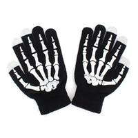 Wholesale winter skeleton gloves - EFINNY Fashion Style Winter Full Finger Unisex Ghost Bone Touch Screen Knit Skeleton Gloves