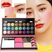 многоцветный тени для век комплект оптовых-Multi-function 33 Color Combination Bag Eyeshadow Blush & Eyebrow & Lipgloss  Set Shimmer Eyeshadow Beauty Leather Bag