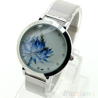 regarder le lotus achat en gros de-Montre-bracelet à quartz en acier inoxydable pour femmes, lotus, bleue