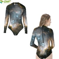 купальники монокини оптовых-Gray Space Galaxy Women Monokinis One Piece Bodysuit Starry Night Sky Bathing Suit Long Sleeve High Swimwear Swimsuit Zipper