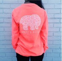 Wholesale elephant print hoodie - Spring Autumn Casual Elephant Printed Long Sleeve Women's Hoodies Cute Letters Printing Pullover Tops for Lady girls