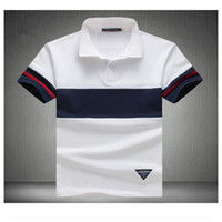 Wholesale polo blue for sale - 92 Cotton Camisa Polo Shirt Casual Stitching Stripes Slim Short Sleeved Asian Size M XL New Brand Mens Solid Polo