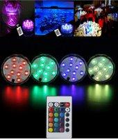 base de luz floral al por mayor-Controlado a distancia Sumergible RGB LED Luz Vela Lámpara Multicolor Floral Jarrón Base Impermeable Tealight Boda Decoración de la fiesta de cumpleaños