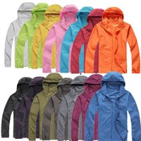 Wholesale hoodie windproof for sale - Group buy 2018 New Summer Womens Mens Brand Rain Jacket Coats Outdoor Casual Hoodies Windproof and Waterproof Sunscreen Face Coats Black White XS XXXL