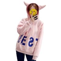 mädchen lang kapuzenpulli großhandel-Koreanische Mode Frauen Kapuzenoberteile Nette Mädchen Katze Ohren Sweatshirt Lässige Herbst Winter Langarm Pullover