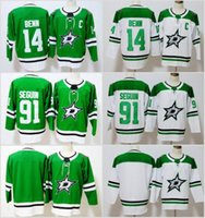 Wholesale dallas hockey jerseys - 2018 New Season Dallas Stars Jersey 14 Jamie Benn 91 Tyler Seguin 30 Ben Bishop Green White Stitched Hockey Jerseys free shipping