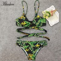 Wholesale floral tankini top - Summer Women Floral Print Tankini Swimsuit and Plus Size Swimwear Green Patterned Bikini Top High Waist Swimsuit RF1332