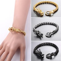 Wholesale Chinese Dragon Plates - U7 Jewelry Stainless Steel Statement Chinese Dragon Chain Bracelet Gold Plated Black Gun Plated Men's Biker Jewelry GH2703