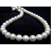fecho de ímã redondo venda por atacado-Natural Rodada 10-11mm Branco South Sea Pearl Necklace 18