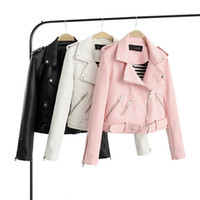 Wholesale Hot Pink Faux Fur Coat - Brand Motorcycle PU Leather Jacket Women Winter And Autumn New Fashion Coat 4 Color Zipper Outerwear jacket New PINK Coat HOT