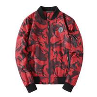 3d drucken armee männer großhandel-2018 neue Herbst Bomber Jacken Männer Mode gedruckt hohe Qualität Armee grün Militär Motorrad Fliegerjacke Männer Outwear