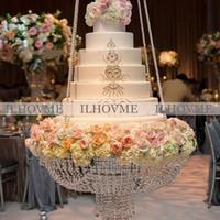 hochzeit acryl kuchen steht großhandel-Durchmesser 40 CM / 45 CM / 60 CM Luxus Hängen Kuchen Rack Hochzeitstorte Stehen Transparent Kristall Perlen Acryl Haupttischdekoration