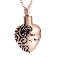 Wholesale necklaces for ashes resale online - Always In My Heart Classic Heart Urn For Ashes Memorial Jewelry Cremation Urn Pendant Necklace Women Men Ash Jewelry Hold Ashes Neckalce