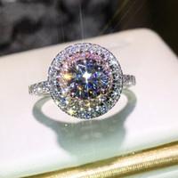ingrosso anelli d'argento tagliati diamanti-Victoria Wieck Gioielli di lusso fatti a mano in argento sterling 925 con taglio rotondo rosa con zaffiri bianchi con diamanti a rombi di colore Anello da donna con fedi nuziali