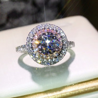joyas de plata esterlina rosa anillo al por mayor-Victoria Wieck joyería de lujo hecha a mano plata de ley 925 corte redondo rosa blanco zafiro CZ diamantes de las piedras preciosas color mujer anillo de la boda