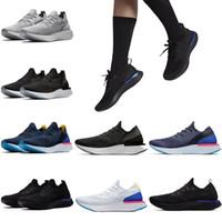 mens yaz ayakkabıları spor ayakkabıları toptan satış-Nike shoes Moda Epic React örgü Koşu Ayakkabı Mens bayan Belçika Siyah Oreo scarpe Yeni Yaz açık atletik Spor adam Sneakers online satış