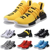 Wholesale Cheap NMD Human Race Running Shoes Men Women Pharrell Williams HU Runner Yellow Black White Red Green Grey Blue Sport Sneaker Size