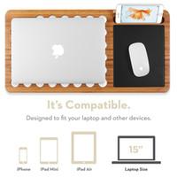 шиферные доски оптовых-Премиум Бамбук Стол Ноутбук Стенд Стол Доска Шифер 13 дюймов 15 дюймов для MacBook Ноутбук Ноутбук Планшет Встроенный коврик для мыши