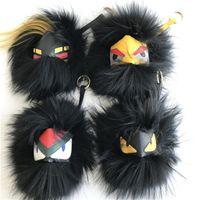 Wholesale alloy fox - Black Series Large Soft Real Fox Fur Monster Bug bag Charm Pom Ball plush Keyring Tassel Pendant