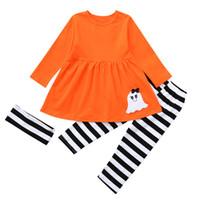 bebek cadılar bayramı kostümleri toptan satış-Toddler Bebek Kız erkek giysileri Hayalet Elbiseler Çizgili Pantolon Cadılar Bayramı Kostüm Kıyafetler Set roupas infantis menina # YL5