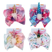 Wholesale supplies for hair - 8 Inch Jojo Bows Unicorn Hair Bow Jojo Siwa Party Supplies Unicorn Headbands For Child Teens