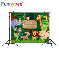 sobremesa venda por atacado-Funnytree fotografia fundo Tropical jungle animais aniversário sobremesa mesa decoração cenário fotocélula foto estúdio impresso