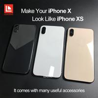 iphone cam değiştirme aracı toptan satış-IPhone X için Geri Konut Kapak Gibi Bakmak iPhone XS Stil Düğmeleri ile Alüminyum Cam Arka Kapak Değiştirme Araçları