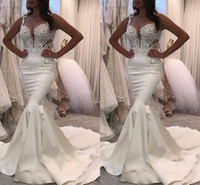 Wholesale unique robes for sale - 2018 Latest Sweetheart Neck Mermaid Wedding Dresses White O neck Satin Mermaid Bridal Gowns Unique Robe De Mariage Bridal Wedding Gowns