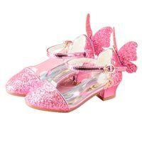 Wholesale little girls heels - Girls sequins Princess shoes Children High heels Little girl Snow Romance Wings Party Beauty shoes Spot Wholesale