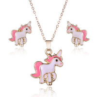 Wholesale horse gifts for girls - 3pcs set pink horse unicorn jewelry sets kits for women girl animal decorations earrings necklaces unicorn necklace earrings set
