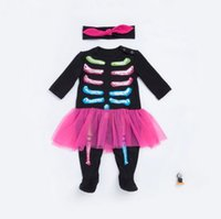 bebek kafatası giysileri toptan satış-Çocuklar uzun kollu kafatası Romper Bebek Erkek Kız Cadılar Bayramı Tulum Tulum Giyim Kıyafet Parti Tulum KKA5707