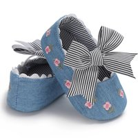 Wholesale fresh slip shoes online - baby shoes Summer Baby Girl The First Walker Small Fresh Embroidered Bow Princess Shoes Cotton