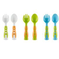 juego de cuchara tenedor chico al por mayor-2 piezas de tenedor y cuchara Set PP vajilla de seguridad amigable vajilla herramientas para niños Utensilio de cocina 2 unids / set HH7-1189