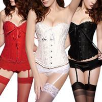 corset dos lingerie achat en gros de-Corsets Pour Femmes Sexy Lacets En Satin Rétro Corset Brocart Floral Bustier Dos Lingerie Body Taille Shapewear Avec G - Corde
